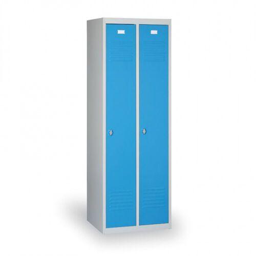 Szafki do przebieralni, Szafka ubraniowa Ekonomik, niebieskie drzwi, zamek cylindryczny