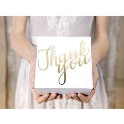 Ozdobne pudełko na ciasto, Thank You, złote, 14x8,5x14 cm, 10 szt. - Thank You, złote