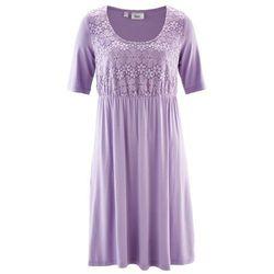 Sukienka z dżerseju z rękawami do łokcia i koronką bonprix w kolorze bzu