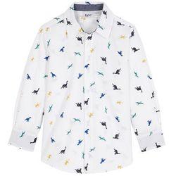 Koszula z długim rękawem Regular Fit bonprix biały z nadrukiem