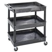 Wózki i stoły narzędziowe, Wózek uniwersalny MULTI, dł. x szer. x wys. 920x640x975 mm, 3 piętra, czarny. Od