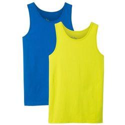 Koszulka bez rękawów (2 szt.) bonprix lazurowy + zielony