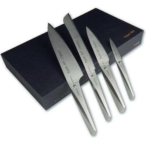 Noże kuchenne, Nóż kucharza 20 cm, nóż kucharza 14,2 cm, nóż do pieczywa i do obierania Type 301 w zestawie