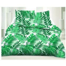 Pościel 100% bawełny z nadrukiem w liście FORESTO - 220x240 cm + 2 poszewki na poduszkę 65 x 65 - Kolor zielony i biały