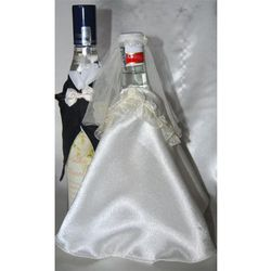 Ubranka na butelkę wódki-falbanka biała róża niebi