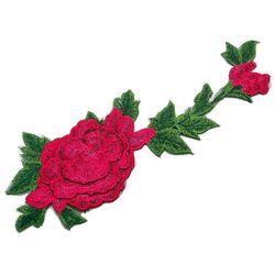 Naszywka kwiat warstwowy czerwień 33cm x 10,5cm - CZERWIEŃ