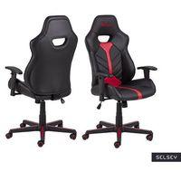 Fotele dla graczy, SELSEY Fotel gamingowy Salorno czarno-czerwony