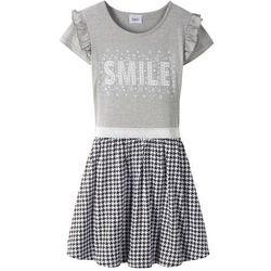 Sukienka z falbanami i cekinami bonprix jasnoszary melanż - czarno-biały