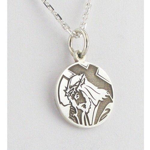 Pozostała biżuteria, Medalik srebrny z wizerunkiem chrystusa med-6-1