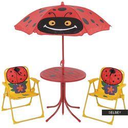 SELSEY Zestaw ogrodowy Biedronki stolik z dwoma krzesełkami i parasolem