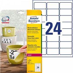 Etykiety Heavy Duty Avery Zweckform A4 20ark./op. 63,5x33,9mm białe poliestrowe - USUWALNE