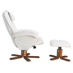 Fotel wypoczynkowy z podnóżkiem ETERNITY - Biały kość słoniowa