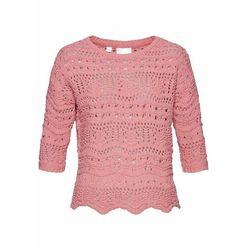 Sweter ażurowy z poliestru z recyklingu bonprix dymny różowy