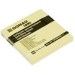 Bloczek samoprzylepny DONAU Eco, 76x76mm, 1x100 kart., jasnożółty