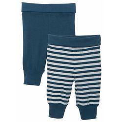 Spodnie niemowlęce z dżerseju (2 pary), bawełna organiczna bonprix ciemnoniebiesko-srebrny w paski