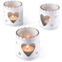 Świeczniki na świece podgrzewacze z serduszkami (3 szt.) bonprix biały