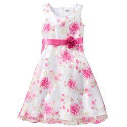 Sukienka dziewczęca na uroczyste okazje bonprix biało-różowy