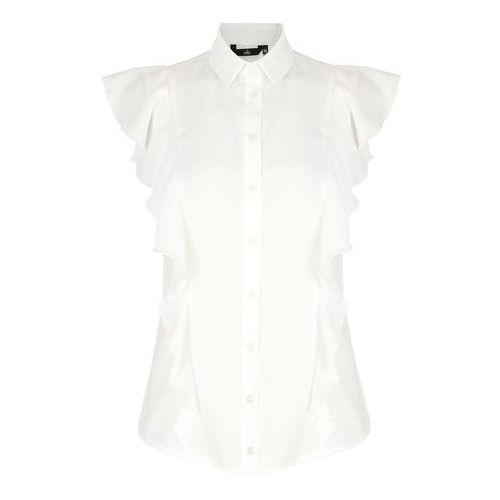 Bluzki, Bluzka z krótkim rękawem i falbanami - ecru - B88
