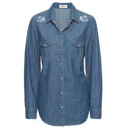 Koszula dżinsowa z haftem, długi rękaw bonprix niebieski