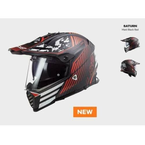 Kaski motocyklowe, KASK MOTOCYKLOWY ENDURO OFF ROAD LS2 MX436 PIONEER EVO SATURN MATT BACK RED - nowość 2021 roku