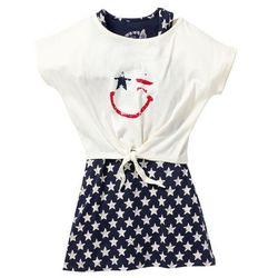 Sukienka + shirt z przewiązaniem (2 części) bonprix ciemnoniebiesko-biel wełny z nadrukiem