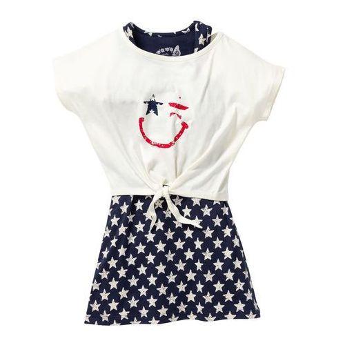 Zestawy odzieżowe dziecięce, Sukienka + shirt z przewiązaniem (2 części) bonprix ciemnoniebiesko-biel wełny z nadrukiem