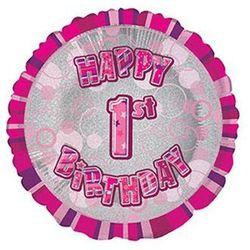 Balon foliowy różowy Happy Birthday z cyfrą 1 na roczek - 47 cm - 1 szt.