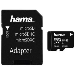 Karta pamięci HAMA microSDXC 64GB Class 10 UHS-I 80MB/s + adapter