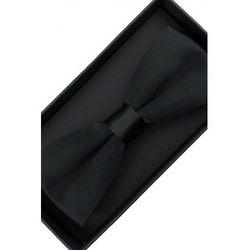 Elegancka Mucha Muszka Męska gotowa gładka czarna tradycyjna matowa M222
