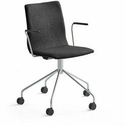 Krzesło konferencyjne OTTAWA, na kółkach, podłokietniki, czarna tkanina, szary