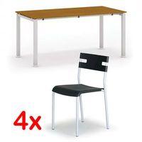 Pozostałe meble biurowe, Stół konferencyjny AIR 1600 x 800 mm, czereśnia + 4x krzesło LINDY GRATIS, czarny