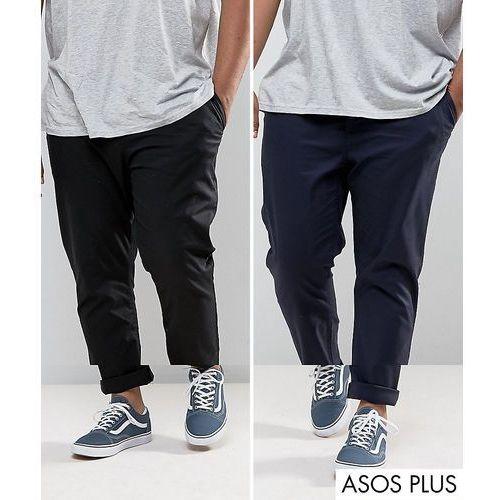 Spodnie męskie, ASOS PLUS 2 Pack Slim Chinos In Black & Navy SAVE - Multi