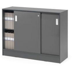 Szafka FLEXUS z drzwiami przesuwnymi, 2 półki, 925x1200x415 mm, szary, szary