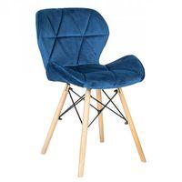 Krzesła, NOWOCZESNE KRZESŁO SKANDYNAWSKIE ART118 NIEBIESKI WELUR