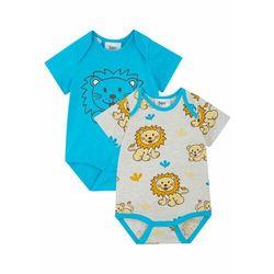 Body niemowlęce z krótkim rękawem (2 szt.), bawełna organiczna bonprix turkusowo-naturalny melanż
