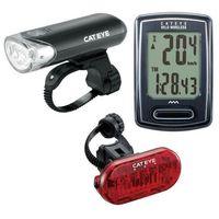 Oświetlenie rowerowe, Zestaw lampek Cateye HL-EL135 i TL-LD135 oraz licznik bezprzewodowy CC-VT230W