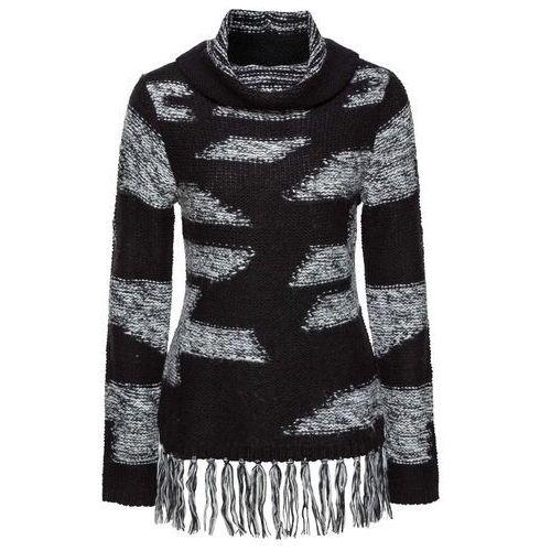 Swetry i kardigany, Sweter z frędzlami bonprix czarno-jasnoszary w paski