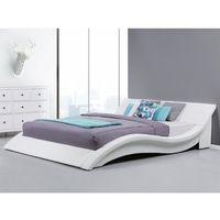 Łóżka, Łóżko wodne 180x200 cm dodatki skórzane białe VICHY