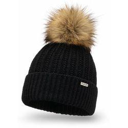 Ciepła czapka damska z pomponem PaMaMi - Czarny