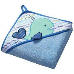 Okrycie kąpielowe Babyono FROTTE 100x100 cm Wieloryb niebieski