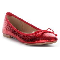 Modne Balerinki Damskie z Kokardką Czerwone (kolory)