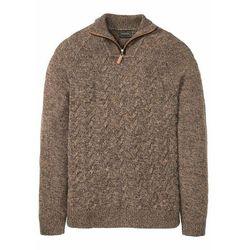 Sweter ze stójką z materiału z domieszką wełny bonprix brązowy melanż