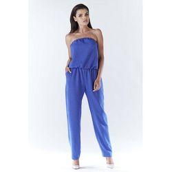 Niebieski Elegancki Kombinezon z Odkrytymi Ramionami