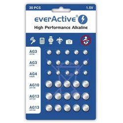 Baterie alkaliczne mini everActive 10 x G3 / LR41, 5 x G4 / LR626, 5 x G10 / LR1130, 10 x G13 / LR1154 zestaw 30 sztuk