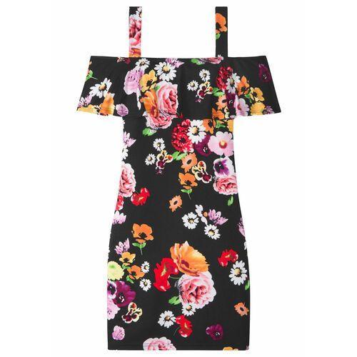 Sukienki dla dzieci, Sukienka dziewczęca z falbaną bonprix czarny w kwiaty