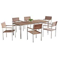 Teak-Stal szlachetne meble ogrodowe Stół 200cm 6 x krzeseł VIAREGGIO