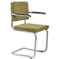 Fotele i krzesła biurowe, Zuiver Fotel RIDGE KINK RIB zielony 25A 1200052