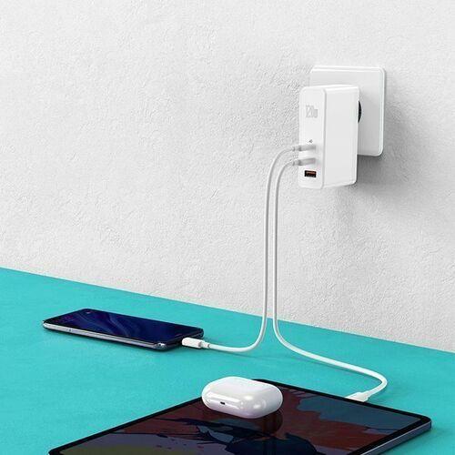 Smartbandy, Baseus GaN2 Pro | Ładowarka sieciowa 2x Type-C 1x USB-A 120W Power Delivery 3.0 Quick Charge 4.0 Huawei SCP Samsung Fast Charge 2.0 + kabel 100W - Biały