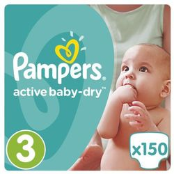PAMPERS Active Baby pieluchy 3 Midi 150szt pieluszki Mega Box karton