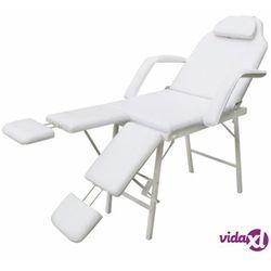 vidaXL Przenośny fotel kosmetyczny, ekoskóra, 185 x 78 x 76 cm, biały Darmowa wysyłka i zwroty